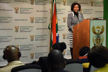 Minister Maite Nkoana-Mashabane during a media briefing on the upcoming United States - Africa Leaders' Summit, Pretoria, South Africa, 1 August 2014.