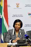 Minister Maite Nkoana-Mashabane during a press briefing on developments following the collapse of a building at the Synagogue Church of All Nations in Lagos, Nigeria, Cape Town, South Africa, 17 September 2014.