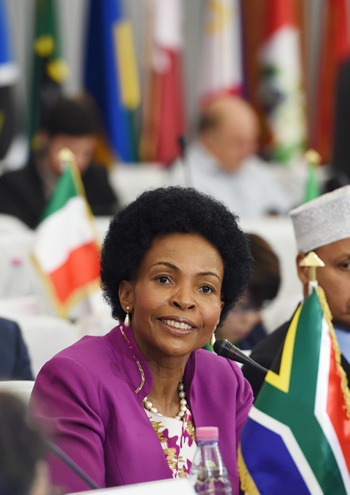 Minister Maite Nkoana-Mashabane at the Non-Aligned Movement (NAM) Ministerial Conference, Algiers, Algeria, 29 May 2014.
