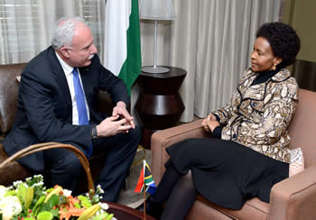 Minister Maite Nkoana-Mashabane meets with the Minister of Foreign Affairs of Palestine, Dr Raid Malki, at the Ministers Office, OR Tambo Building, Pretoria, South Africa, 2 May 2014.