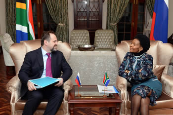 Minister Maite Nkoana-Mashabane meets with Russian Minister of Natural Resources, Mr Sergey Donskoy, Pretoria, South Africa, 12 June 2014.