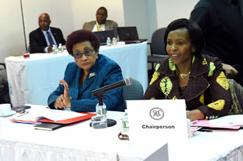Minister Maite Nkoana-Mashabane chairs a SADC - MCO Ministerial Meeting, at the South African Permanent Mission to the United Nations (UN), New York, USA, 22 September 2014. Seated next to her is the SADC Executive Secretary, Ms Stergomena Lawrence Tax.