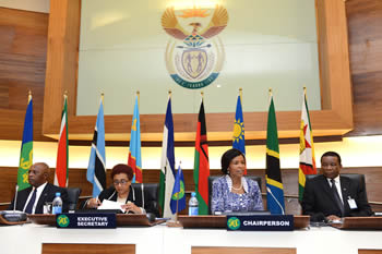 Left to right: Director of the SADC Organ on Politics Defence and Security, Colonel Tanki Mothae; SADC Executive Secretary, Dr Stergomena Lawrence Tax; Minister Maite Nkoana-Mashabane; and the Director General Department of International Relations and Cooperation, Mr Jerry Matjila, Pretoria, South Africa, 15 September 2014.