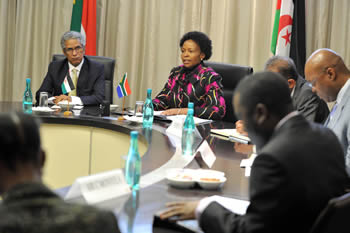 Minister Maite Nkoana-Mashabane with Saharawi Arab Democratic Republic, Foreign Affairs Minister, Mohamed Salem Ould Salek, Pretoria, South Africa, 27 June 2013.