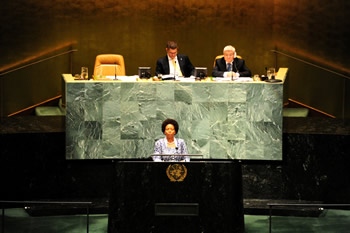 International Relations and Cooperation, Ms Maite Nkoana-Mashabane addresses the United Nations General Assembly on the occasion of the General Assembly Debate on Peaceful Resolution of Conflicts in Africa, New York, USA, 25 April 2013