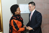 Meeting between Minister Maite Nkoana-Mashabane and President Vuk Jeremić of the 67th United Nations General Assembly (UNGA), Pretoria, South Africa, 12 August 2013.
