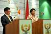 Minister Maite Nkoana-Mashabane and her counterpart, Foreign Affairs Minister Pham Binh Minh, from the Socialist Republic of Vietnam, conduct a Press Briefing at the conclusion of the Bilateral Consultations, Pretoria, South Africa, 06 August 2013.