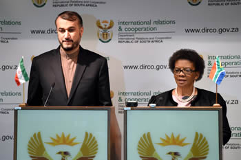 Deputy Minister Nomaindiya Mfeketo with the Deputy Minister of Foreign Affairs of the Islamic Republic of Iran, Dr Hossein Amir Abdollahian, during a press conference, Pretoria, South Africa, 9 September 2014.