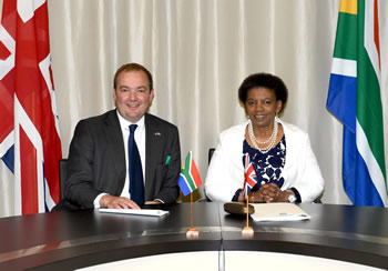Deputy Minister Nomaindiya Mfeketo holds bilateral discussions with the Parliamentary Under Secretary of State for Foreign and Commonwealth Affairs of the United Kingdom, Rt Hon James Duddridge, Pretoria, South Africa, 10 September 2014.