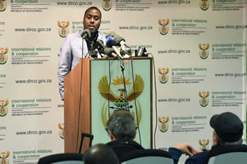 Department of International Relations and Cooperation Spokesperson, Mr Clayson Monyela, briefs the media on recent activities in the Kingdom of Lesotho, O R Tambo Building, Pretoria, South Africa, 30 August 2014.
