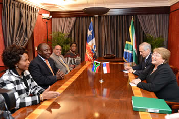 Deputy President Cyril Ramaphosa pays a courtesy call on President Michelle Bachelet of the Republic of Chile at the Sheraton Hotel, Pretoria, South Africa, 8 August 2014.