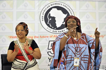 Deputy Minister of Tourism, Ms Tokozile Xasa, with the President of POWA, Ms Assetou Koite. Deputy Minister Xasa is hosting POWA on behalf of Minister Maite Nkoana-Mashabane at the O R Tambo Building, Pretoria, South Africa, 30-31 August 2013.