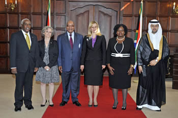 (Front left to right) Ambassador of Kenya, Mr Patrick Simiyu Wamoto; Ambassador of France, Mrs Elisabeth Barbier; President Jacob Zuma, Ambassador of Poland, Mrs Anna Raduchowska-Brochwicz; High Commissioner of Malawi, Mrs Stella Hauya Ndau B Ndau; Ambassador of Saudi Arabia, Mr Abdullah Bin Mohammed Al-Madhi, Pretoria, South Africa, 06 June 2013.
