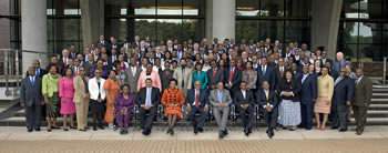 Heads of Mission group photo with President Jacob Zuma, O R Tambo Building, Pretoria, South Africa, 11 April 2013.