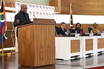 President Jacob Zuma addresses the Heads of Missions Conference at the Department of International Relations and Cooperation Head Quarters, Pretoria, South Africa, 31 August 2014.