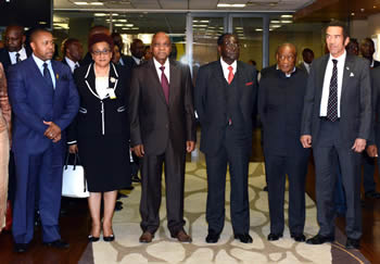 Chairperson of the SADC Organ on Politics, Security and Defence, His Excellency Mr Jacob Zuma, President of the Republic of South Africa, during a group photo of the sitting for the SADC Double Troika Summit plus the DRC and the United Republic of Tanzania, Pretoria, South Africa, 15 September 2014.
