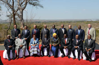 Group photograph of the SADC Heads of State and Government, Elephant Hills Resort Conferences Centre, Victoria Falls, Zimbabwe 17-18 August 2014.