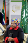 The African Union Chairperson, Dr Nkosazana Dlamini Zuma, being interviewed by Morning Live before the AU Golf day, Kensington Golf Course, Johannesburg, South Africa, 12 June 2015.