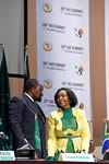 Foreign Minister Simbarashe Mumbengegwi (Chairperson of the meeting) of Zimbabwe and Minister Maite Nkoana-Mashabane, Sandton, Johannesburg, South Africa, 11 June 2015.
