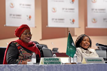 The Chairperson of the AUC, Dr Nkosazana Dlamini Zuma, and Minister Maite Nkoana-Mashabane at the African Union (AU) Ministerial Retreat, Sandton Convention Centre, Johannesburg, South Africa, 7-15 June 2015.