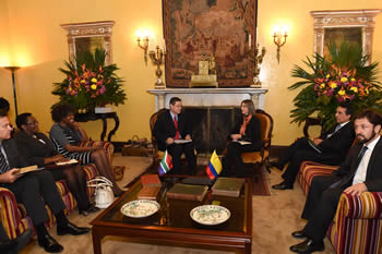 Deputy Minister Luwellyn Landers meets and signs a MOU in Political Cooperation with the Deputy Minister of Foreign Affairs of Colombia, Ms Patti Londono Jaramillo, Bogota, Colombia, 9 March 2015.