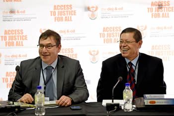 Deputy Minister Luwellyn Landers with the Deputy Minister of Justice and Constitutional Development, Mr John Jeffery, at a National Workshop on the United Nations International Convention on Economic Social and Cultural Rights (ICESCR), Midrand Conference Centre, Midrand, South Africa, 21 September 2015.