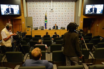 Deputy Minister Luwellyn Landers addresses the media on international developments, Imbizo Media Centre, Cape Town, South Africa, 19 March 2015.