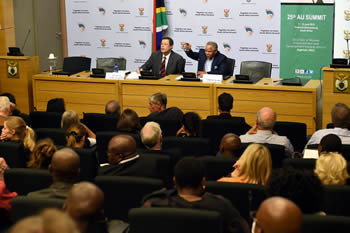 Deputy Minister Luwellyn Landers addresses SAIIA at the Parliament. Professor Eltie Links of SAIIA is seated next to him, Cape Town, South Africa, 20 May 2015.