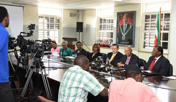 Deputy Minister Luwellyn Landers at the Press Briefing with the Minister of Foreign Affairs, Mr W Lackin, Paramaribo, Suriname, 2 July 2015.