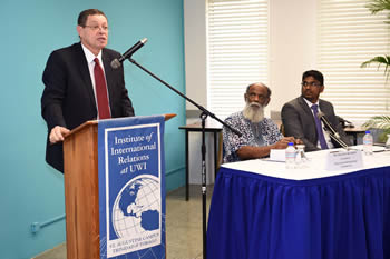 "Deputy Minister Luwellyn Landers addresses an open panel discussion at the Institute of International Relations of the University of the West Indies on the topic of ""Emerging Africa in the 21st Century, Port of Spain, Trinidad and Tobago, 1 July 2015."
