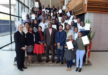Group photograph of Deputy Minister Buti Manamela with the 41 students at the Graduation Ceremony for the Capacity Building and Training Programme in Mediation for South African Youth held at Department of International Relations and Cooperation Head Office, Pretoria, South Africa, 26 June 2015.
