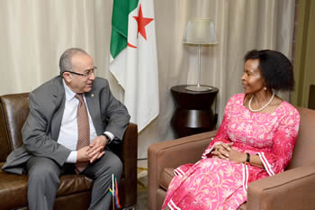 Minister Maite Nkoana-Mashabane with the Algerian Minister of Foreign Affairs, Mr Ramtane Lamamra, Pretoria, South Africa, 18 March 2015.