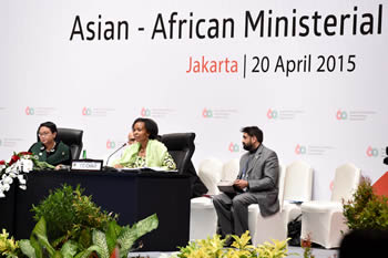 Minister Maite Nkoana-Mashabane co-chairs the Asian - African Ministerial Conference with the Foreign Minister of Indonesia, Ms Retno L.P. Marsudi (on the left), on the far right is South African Ambassador Anil Sooklal (Deputy Director General of the Department of International Relations and Cooperation at the Asia and Middle East Desk), Jakarta, Indonesia, 20 April 2015.