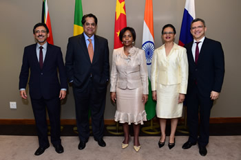 Minister Maite Nkoana-Mashabane, Minister Patel, Minister Joemat-Pettersson, President of the BRICS Development Bank, Mr KV Kamath, and Vice President and CFO of the BRICS Development Bank, Mr Leslie Maasdorp, seen after the luncheon, Pretoria, South Africa, 1 December 2015.