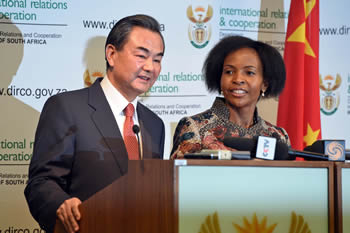 Minister Maite Nkoana-Mashabane with Mr Wang Yi, Minister of Foreign Affairs of the People's Republic of China during the Press Conference, Pretoria, South Africa, 14 April 2015.