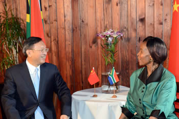 Minister Maite Nkoana-Mashabane meets with the State Councillor of the People's Republic of China, Mr Yang Jiechi, Johannesburg, South Africa, 9 October 2015.