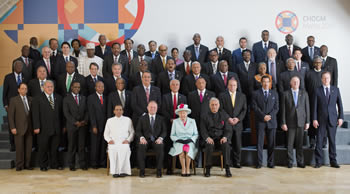 Official group photograph with Her Majesty The Queen and Heads of Government at the Commonwealth Heads of Government Meeting (CHOGM 2015), Valletta, Malta, 27 October 2015.