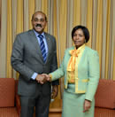 Minister Maite Nkoana-Mashabane meets with the Prime Minister of Antigua and Barbuda, Mr Gaston Browne, Valletta, Malta, 26 October 2015.