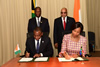 Agreement on the establishment of a Joint Commission in the area of Cooperation between South Africa and Côte d'Ivoire, by Minister Maite Nkoana-Mashabane and Foreign Minister Charles Kofi Diby. President Jacob Zuma and President Alassane Ouattara witness the signing, Johannesburg, South Africa, 4 December 2015.