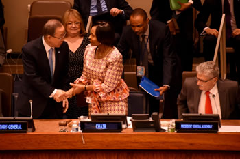 Minister Maite Nkoana-Mashabane and the Chair of the Thirty-Ninth Session of the G77 plus China Ministerial Meeting, greets the UN Secretary General, Mr Ban Ki-moon, at the commencement of the meeting at the United Nations, New York, USA, 24 September 2015.