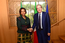 Minister Maite Nkoana-Mashabane is met by the Minister of Foreign Affairs and International Cooperation, Paolo Gentiloni of Italy, ahead of the Bilateral Meeting, Rome, Italy, 20 November 2015.