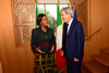 Minister Maite Nkoana-Mashabane and her counterpart, the Minister of Foreign Affairs and International Cooperation, Paolo Gentiloni of Italy, share a light moment as she arrives for their Bilateral Meeting, Rome, Italy, 20 November 2015.