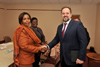 Minister Maite Nkoana-Mashabane meets with the Minister of Natural Resources and Environment of the Russian Federation, Mr Sergey Donskoy, ahead of the Thirteenth Session of the South Africa - Russia Joint Intergovernmental Committee on Trade and Economic Cooperation (ITEC), Moscow, Russian Federation, 12 November 2015.