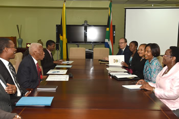 Minister Maite Nkoana-Mashabane meets the Minister of Foreign Affairs and Foreign Trade, Senator Arnold J. Nicholson, QC, of Jamaica for a Bilateral Meeting, Kingston, Jamaica, 20-22 September 2015.