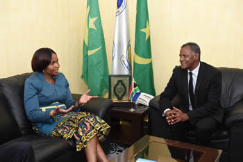 Minister Maite Nkoana-Mashabane has a courtesy meeting with the President of the Union for the Republic Party (Ruling party), Mr Mouhamed Ould Maham, Nouakchott, Mauritania, 24 August 2015.
