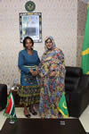 Minister Maite Nkoana-Mashabane meets with the Minster of Foreign Affairs and Cooperation, HE Madame the Minister, Vatma Vall Mint Soueinae, Nouakchott, Mauritania, 24 August 2015.