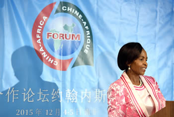 Minister Maite Nkoana-Mashabane briefs the media on preparations for the Second Summit of the Forum on China-Africa Cooperation (FOCAC) to be held in Sandton, Johannesburg; Pretoria, South Africa, 6 November 2015.