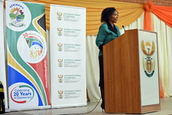 Minister Maite Nkoana-Mashabane delivers a keynote address on the occasion of marking the 2015 International Women's Day to honour struggle heroine Charlotte Maxeke, Wilberforce Community FET College, Evaton, South Africa, 8 March 2015.