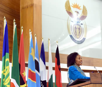 "Minister Maite Nkoana-Mashabane delivers a keynote speech at the Graduation Ceremony of Women from the SADC Secretariat and Member States who participated in a Capacity Building Programme on ""Mediation, Negotiations & Constitution Drafting"" offered by the Department of International Relations and Cooperation, Pretoria, South Africa, 13 March 2015."