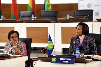 Minister Maite Nkoana-Mashabane with the Executive Secretary of SADC, Dr Stergomena Lawrence Tax, during the SADC Ministerial Committee of the Organ (MCO) on Politics, Defence and Security Cooperation, Pretoria, South Africa, 20 July 2015.